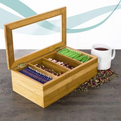 bambusz teafiltertartó doboz zárható tetővel