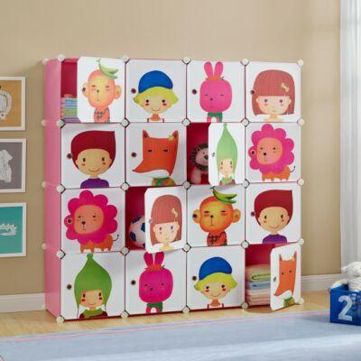 16 polcos gyerekszoba szekrény