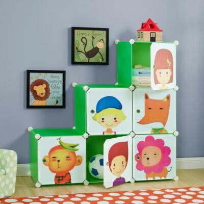 zöld színű műanyag gyerek komód és szekrény