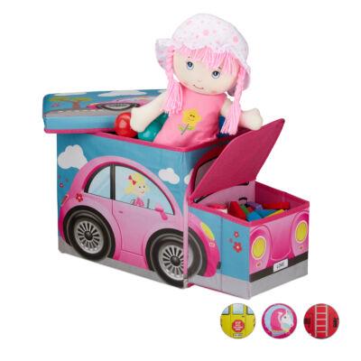 Rózsaszín Autó Mintás Szövet Gyerek Puff, Tárolóval