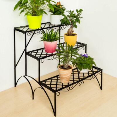 flore 3 szintes széles virágtartó állvány fekete színben