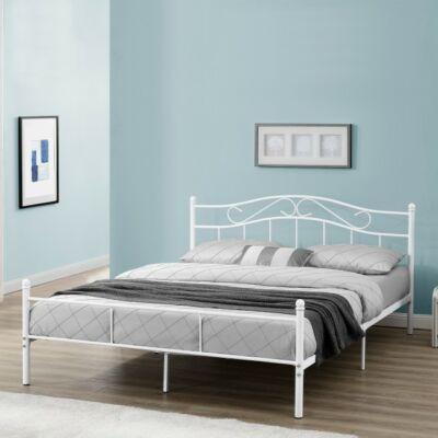 bagira fém ágykeret fehér színben160 x 200 cm méretben kék falú hálószobában