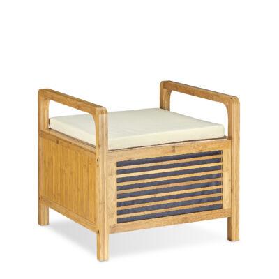 bambusz tárolós pad párnával