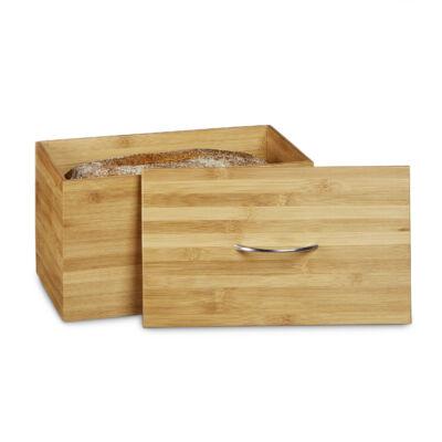 Bambusz kenyértartó doboz tetővel