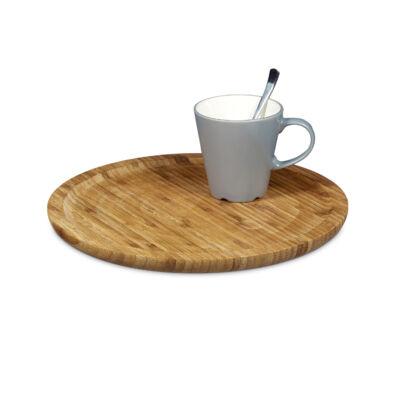 Kör alakú bambusz felszolgáló tálca csészével a lapján