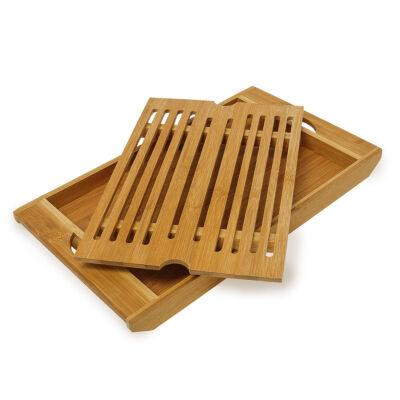 Bambuszból készült kenyérvágó deszka morzsatálcával