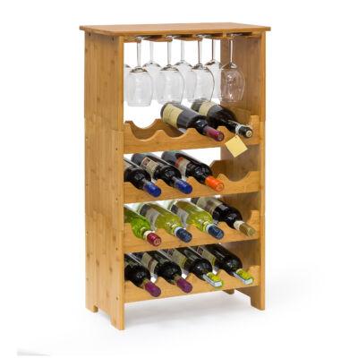 Elison bambusz 16 fakkos boros polc + 12 db pohártartó