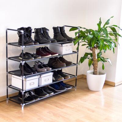 4 emeletes fém csövekből álló cipőtartó