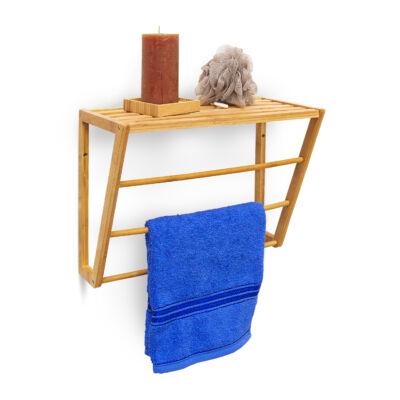 Asako bambusz fürdőszobai fali polc és törölközőtartó