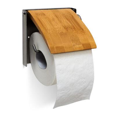 Bin fali Wc papír tartó bambuszból és nemesacélból