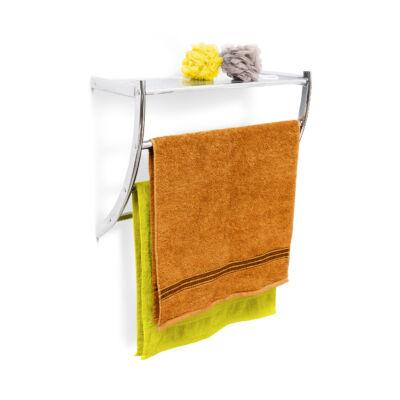 Lorin fürdőszobai rozsdamentes fali polc és törölközőszárító