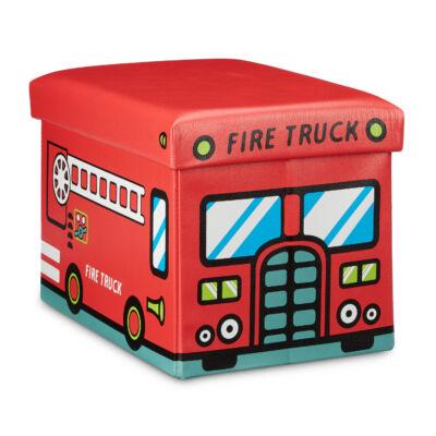 tűzoltó autó mintás gyeremke puff tárolóval