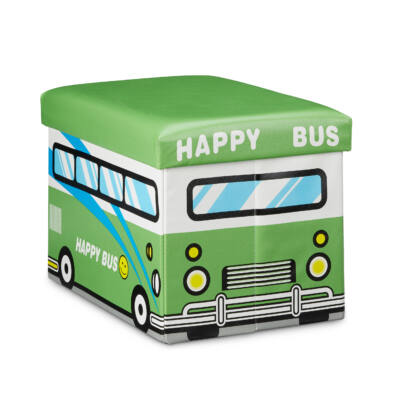 Zöld Buszos Gyerek Puff, Tárolóval