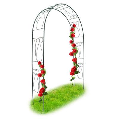 Duplasoros rózsafuttató kapu zöld színben piros rózsákkal futtatva