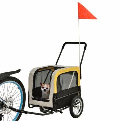 Közepes méretű kutyáknak tervezett kutyaszállító kerékpár utánfutó