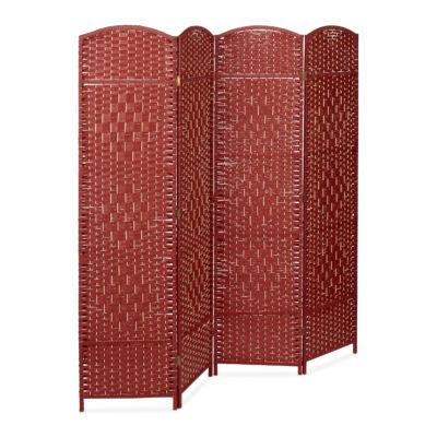 Byöbu bambusz térelválasztó paraván piros színben fehér háttéren