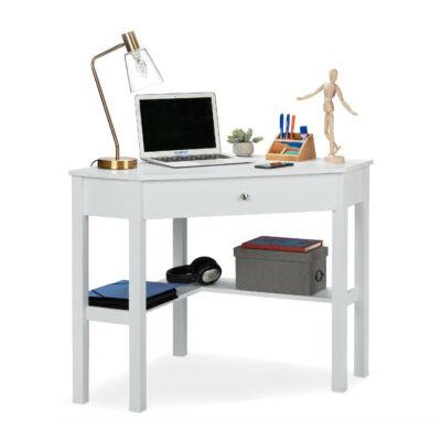 Zirka fehér színű fiókos sarok íróasztal