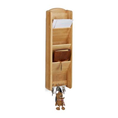 Bambuszból készült fa fali kulcstartó és irattartó