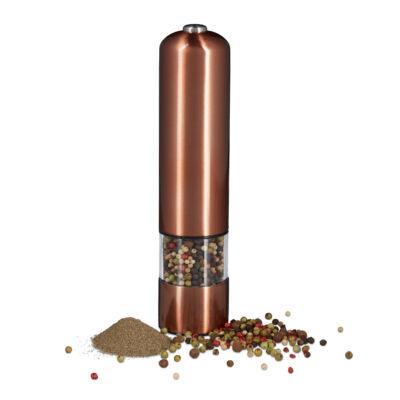 Bronz színű elektromos fűszermalom és fűszerörlő rozsdamentes acél