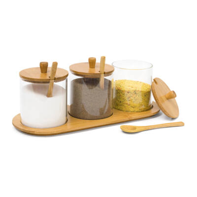 JIAO Bambusz - Üveg Fűszertartó