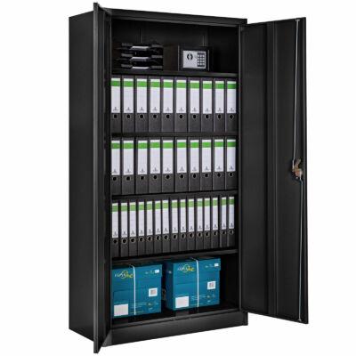 Fekete színű nagyméretű irattartó szekrény 5 polccal