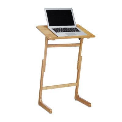 állítható magasságú bambuszból készült laptop tartó állvány