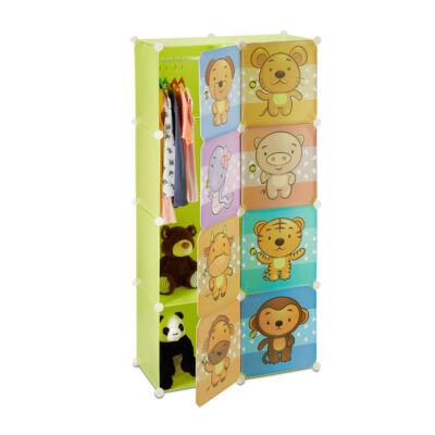 Állatfigurás ajtókkal szerelt gyerek gardrób és mobil szekrény 8 rekesszel