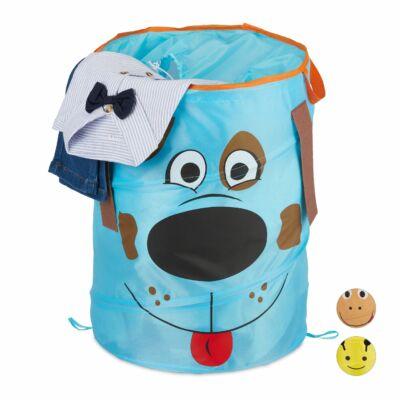 Kutya mintás gyermek szennyeszsák és tárolózsák kék színben
