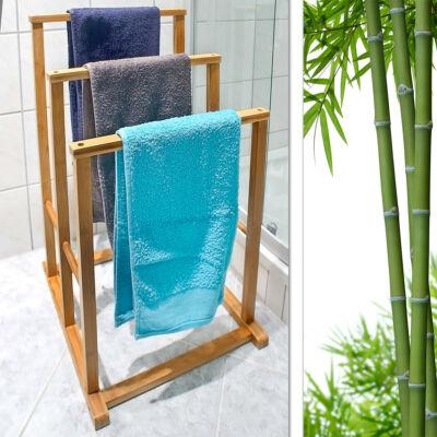 Haruka 3 karos bambusz törölközőtartó állvány