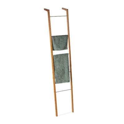 Ler bambusz és acél törölközőtartó állvány