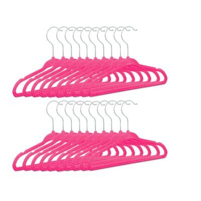 rózsaszín bársony borítású kislány vállfa