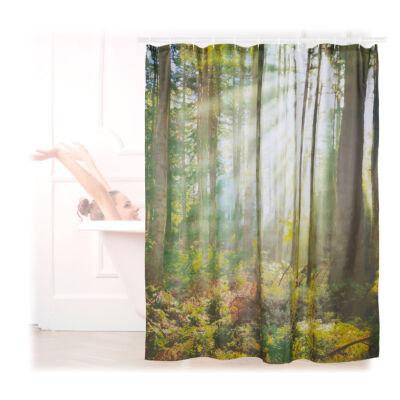 180 x 180 cm méretű zuhanyfüggöny őszi erdő mintával