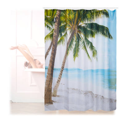 Pálmafa és tengerpart mintával ellátott zuhanyfüggöny poliészter
