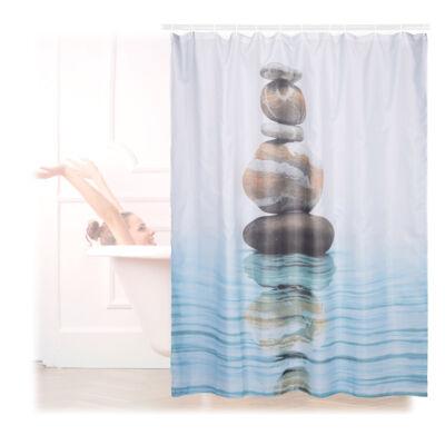 Relax zuhanyfüggöny kavics és víz mintával