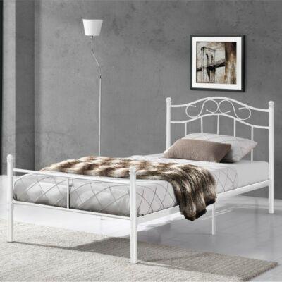 Bagira fehér színű 90 x 200cm méretű fém ágykeret készre ágyazva hálószobában elhelyezve