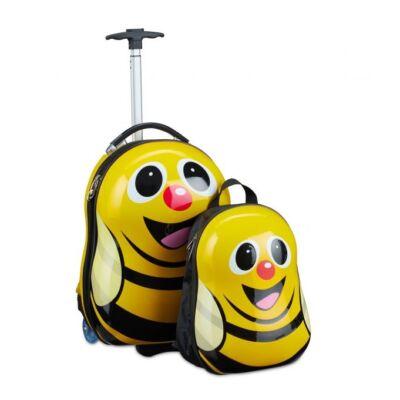 Méhecske formájú gyermek hátizsák és bőrönd szettben
