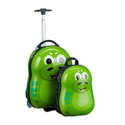 Sárkányos mintával ellátott gyermek bőrönd és hátizák 2 darabos szettben