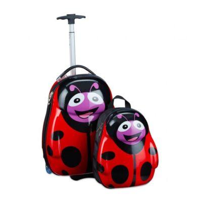 Katicás gyermek bőrönd és koffer illetve egy darab hátizsák szettben