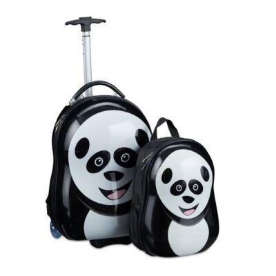 Panda mintás fekete fehér gyermek bőrönd és hátizsák szettben