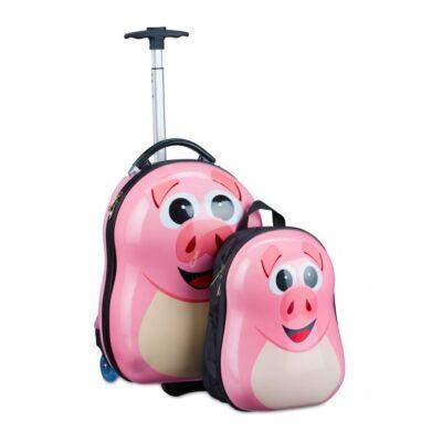 Malackás gyermek bőrönd és hátizsák szett rózsaszín fehér színben