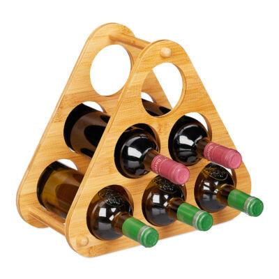 Piramis alakú 6 palackos asztali bortartó