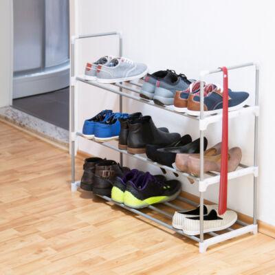 Fon 3 szintes cipőtároló állvány telerakva cipővel
