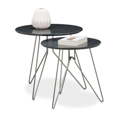 Dover fekete színű modern minimal design fémlábas dohányzóasztal két méretben