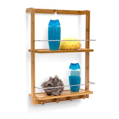 Bambusz zuhany polc fali kivitelű felfúrható verzió