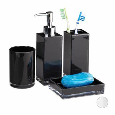 Bolp műanyag szappantartó, fogkefetartó, folyékonyszappan kinyomó és öblítópohár szettben