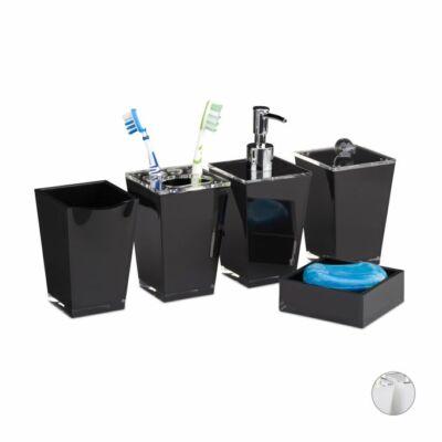 Bolpon több részes fekete színű fürdőszobai tartókészlet öblítőpohárral