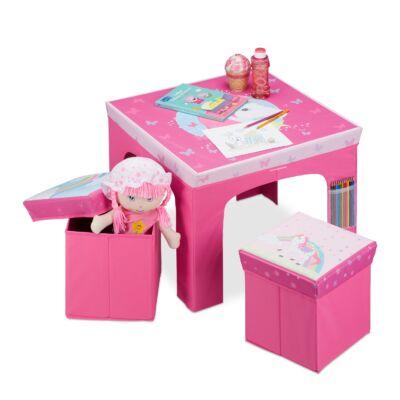 EGYSZARVÚ Mintás Összecsukható Asztal és Puffok Gyerekeknek