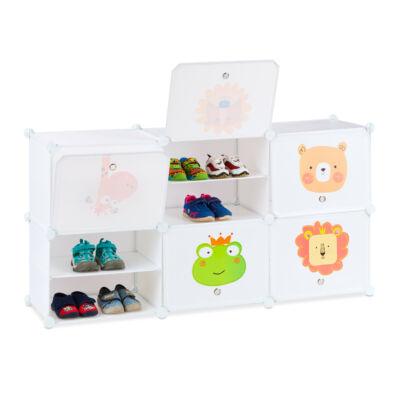 Boni 6 fakkos gyerek tároló szekrény fektetve összerakva