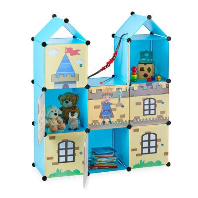 Kisfiú gyermek mobil gardrób kastély formájú kék-krém színben