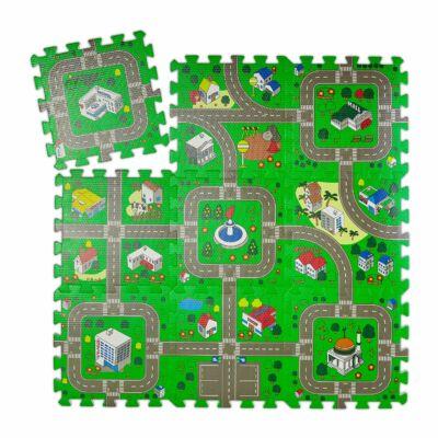 Város mintás Habszivacs Puzzle Szőnyeg Gyerekeknek